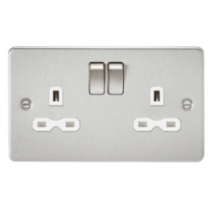 Flat Plate 13A 2G DP Switched Socket - Brushed Chrome With White Insert