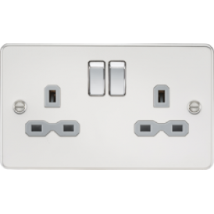 Flat Plate 13A 2G DP Switched Socket - Polished Chrome With Grey Insert