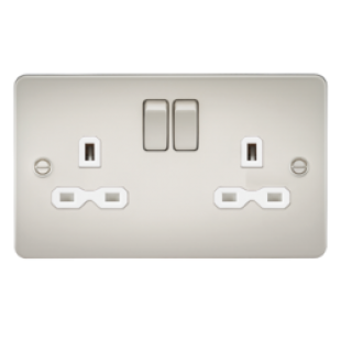 Flat Plate 13A 2G DP Switched Socket - Pearl With White Insert