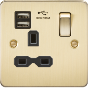 Flat Plate 13A 1G Switched Socket With Dual USB Charger - Brushed Brass With Black Insert