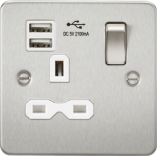 Flat Plate 13A 1G Switched Socket With Dual USB Charger - Brushed Chrome With White Insert