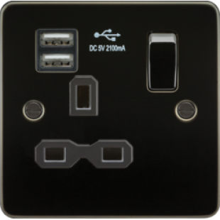 Flat Plate 13A 1G Switched Socket With Dual USB Charger - Gunmetal With Black Insert