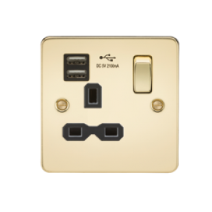 Flat Plate 13A 1G Switched Socket With Dual USB Charger - Polished Brass With Black Insert
