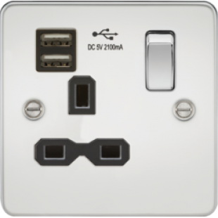 Flat Plate 13A 1G Switched Socket With Dual USB Charger - Polished Chrome With Black Insert
