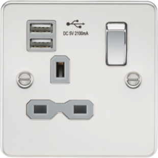 Flat Plate 13A 1G Switched Socket With Dual USB Charger - Polished Chrome With Grey Insert