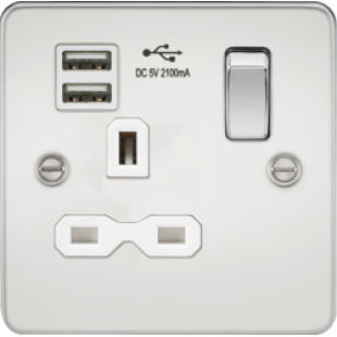 Flat Plate 13A 1G Switched Socket With Dual USB Charger - Polished Chrome With White Insert