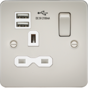 Flat Plate 13A 1G Switched Socket With Dual USB Charger - Pearl With White Insert