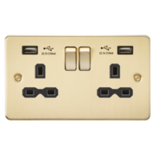 Flat Plate 13A 2G Switched Socket With Dual USB Charger - Brushed Brass With Black Insert