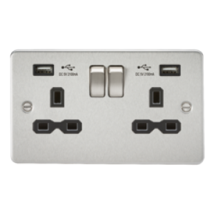 Flat Plate 13A 2G Switched Socket With Dual USB Charger - Brushed Chrome With Black Insert