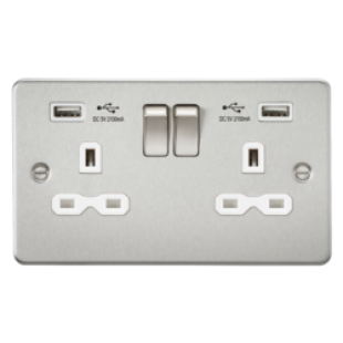 Flat Plate 13A 2G Switched Socket With Dual USB Charger - Brushed Chrome With White Insert
