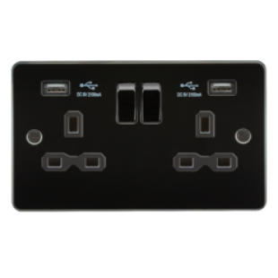 Flat Plate 13A 2G Switched Socket With Dual USB Charger - Gunmetal With Black Insert