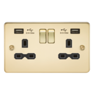 Flat Plate 13A 2G Switched Socket With Dual USB Charger - Polished Brass With Black Insert