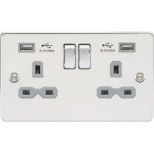 Flat Plate 13A 2G Switched Socket With Dual USB Charger - Polished Chrome With Grey Insert