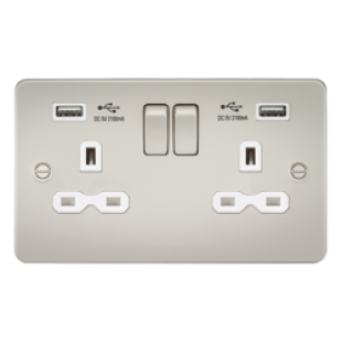 Flat Plate 13A 2G Switched Socket With Dual USB Charger - Pearl With White Insert