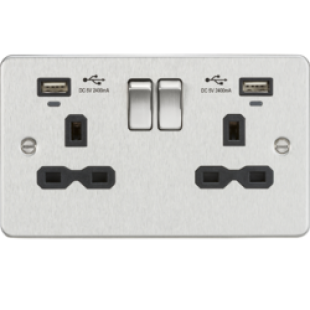 Flat Plate 13A Smart 2G Switched Socket With USB Chargers (2.4A) - Brushed Chrome With Black Insert