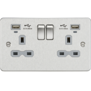 Flat Plate 13A Smart 2G Switched Socket With USB Chargers (2.4A) - Brushed Chrome With Grey Insert