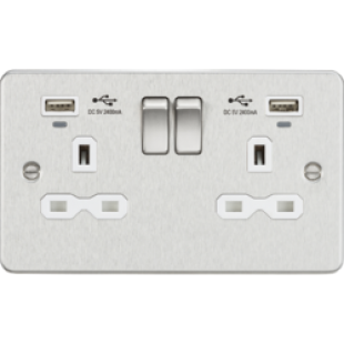 Flat Plate 13A Smart 2G Switched Socket With USB Chargers (2.4A) - Brushed Chrome With White Insert