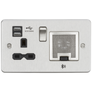 Flat Plate 13A Socket USB Charger And Bluetooth Speaker Combo - Brushed Chrome With Black Insert