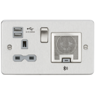 Flat Plate 13A Socket USB Charger And Bluetooth Speaker Combo - Brushed Chrome With Grey Insert