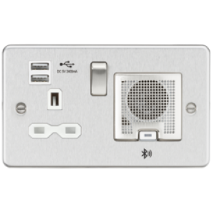 Flat Plate 13A Socket USB Charger And Bluetooth Speaker Combo - Brushed Chrome With White Insert