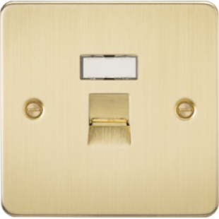 Flat Plate RJ45 Network Outlet - Brushed Brass