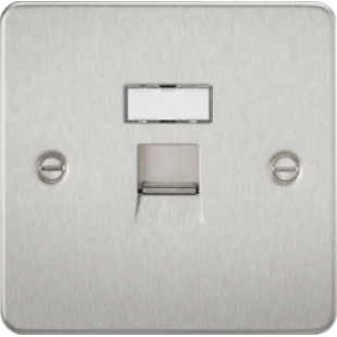 Flat Plate RJ45 Network Outlet - Brushed Chrome