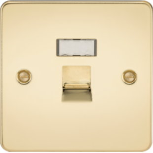 Flat Plate RJ45 Network Outlet - Polished Brass