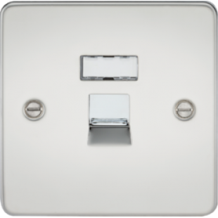 Flat Plate RJ45 Network Outlet - Polished Chrome