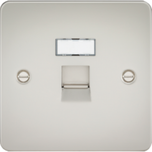 Flat Plate RJ45 Network Outlet - Pearl