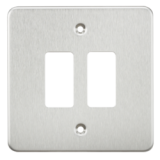 Flat Plate 2G Grid Faceplate - Brushed Chrome
