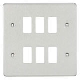 Flat Plate 6G Grid Faceplate - Brushed Chrome
