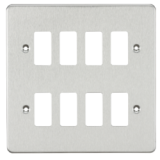 Flat Plate 8G Grid Faceplate - Brushed Chrome