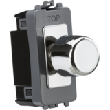 Knightsbridge 1G 2 Way 10-200W (10-100W LED) Trailing Edge Dimmer Module - Polished Chrome