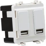 Knightsbridge Dual USB Charger Module (2 x Grid Positions) 5V 2.4A (Shared) - Matt White