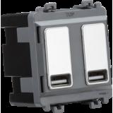 Knightsbridge Dual USB Charger Module (2 x Grid Positions) 5V 2.4A (Shared) - Polished Chrome