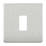 Screwless 1G Grid Faceplate - Brushed Chrome