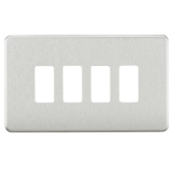 Screwless 4G Grid Faceplate - Brushed Chrome
