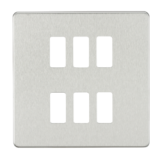 Screwless 6G Grid Faceplate - Brushed Chrome