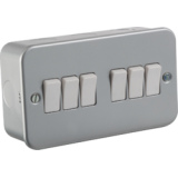 Knightsbridge Metal Clad 10A 6G 2 Way Switch