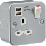 Knightsbridge Metal Clad 13A 1G Switched Socket With Dual USB Charger 5V DC 2.1A (Shared)
