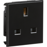 13A 1G Unswitched Socket Module 50mm x 50mm - Black