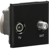 Knightsbridge Diplexed TV / SAT TV Outlet Module 50mm x 50mm - Black