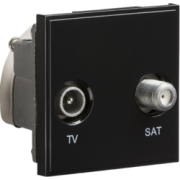 Knightsbridge Diplexed TV / SAT TV Outlet Module 50mm x 50mm - Black