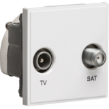 Knightsbridge Diplexed TV / SAT TV Outlet Module 50mm x 50mm - White