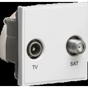 Knightsbridge Diplexed TV / SAT TV Outlet Module 50mm x 50mm - White