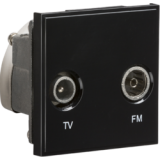Knightsbridge Diplexed TV / FM DAB Outlet Module 50mm x 50mm - Black