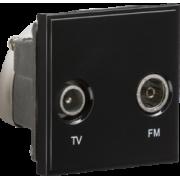 Knightsbridge Diplexed TV / FM DAB Outlet Module 50mm x 50mm - Black