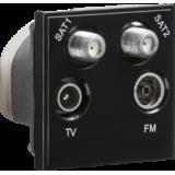 Knightsbridge Quadplexed SAT1 / SAT2 / TV / FM DAB Outlet Module 50mm x 50mm - Black