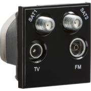 Knightsbridge Quadplexed SAT1 / SAT2 / TV / FM DAB Outlet Module 50mm x 50mm - Black
