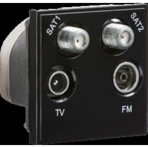 black modular quadplexed sat1 sat2 tv fm dab outlet rh ccmsupplies co uk Sportster Wiring Diagram Badlands Wiring -Diagram